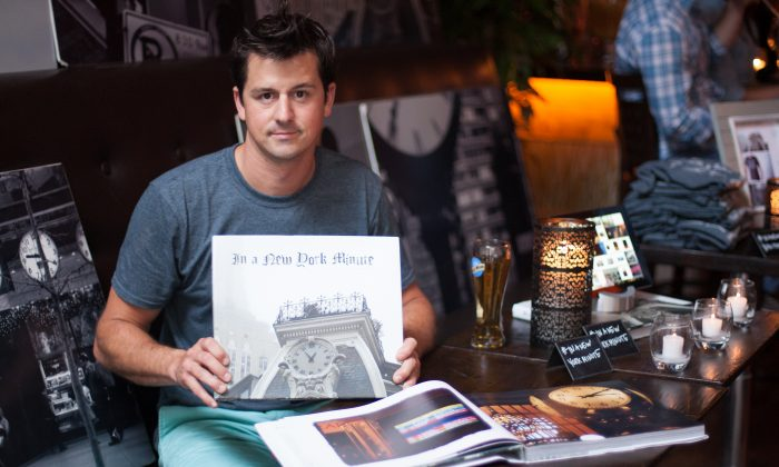 "Author and photographer Stephen Wilfong at a book signing for ""In a New York Minute,"" at the Pergola restaurant in New York City on June 12. (Deborah Yun/Epoch Times)"