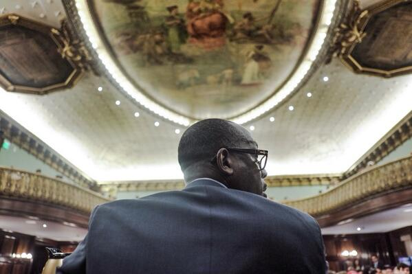 Council member Donovan Richards listens to testimony during a hearing on car wash licensing at the City Hall on June 19. (William Alatriste/City Council)
