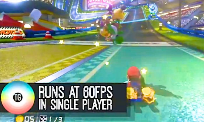 The new version of Mario Kart 8 not only sports new items and features, it also comes with 60 frames-per-second Video quality. (Screenshot AOL)