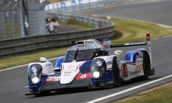 The #8 Toyota TS-040 Hybrid of Anthony Davidson, Nicolas Lapierre, and Sébastien Buemi was quickest in Wednesday practice for the 2014 Le Mans 24 Hours. (newsroom.toyota.eu)