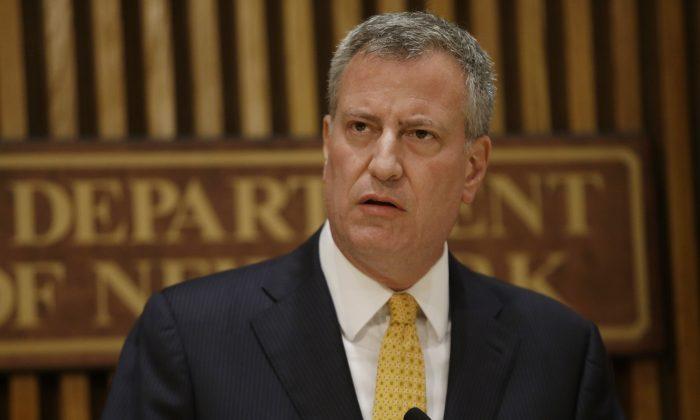 New York City Mayor Bill de Blasio speaks during a news conference Wednesday, June 4, 2014, in New York. (AP Photo/Frank Franklin II)