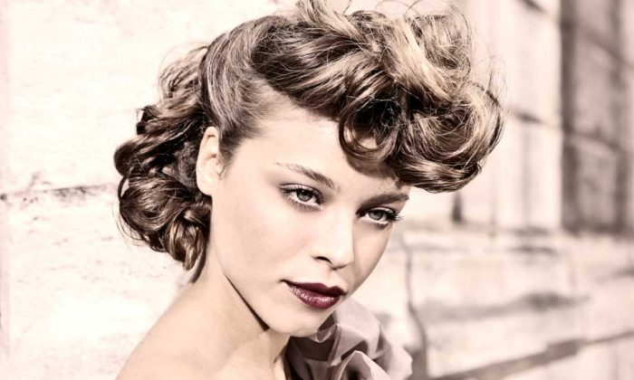 Hair style from the American in Paris collection-deconstructed yet with classic flair. Hair by Vivienne Mackinder, Fashion Director of Intercoiffure America/Canada. (Mathieu Baumer/viviennemackinder.com)