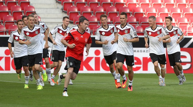 Members of the German national football team are seen during a public training session in Mainz, Germany, June 5, prior to the friendly match Germany vs Armenia taking place in Mainz, June 6, 2014, in preparation for the FIFA 2014 World Cup in Brazil. (DANIEL ROLAND/AFP/Getty Images)
