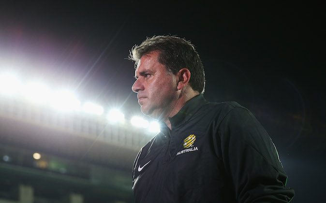 Socceroos coach Ange Postecoglou arrives at an Australian Socceroos training session at Pituacu Stadium on June 5, 2014 in Salvador, Brazil. Australia are playing Croatia in an international friendly match on June 6th. (Photo by Cameron Spencer/Getty Images)