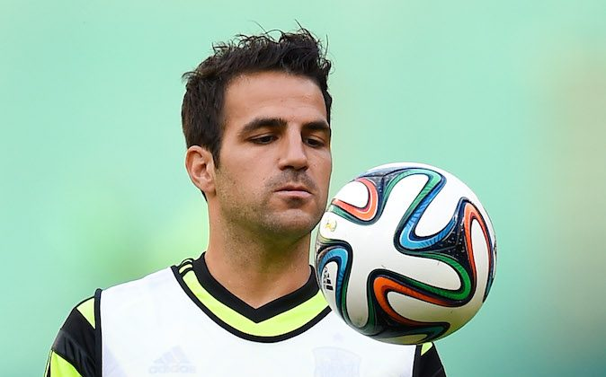 Cesc Fabregas of Spain juggles the ball during a training session of the Spain National Team at Robert F. Kennedy Stadium on June 5, 2014 in Washington, DC. (David Ramos/Getty Images)