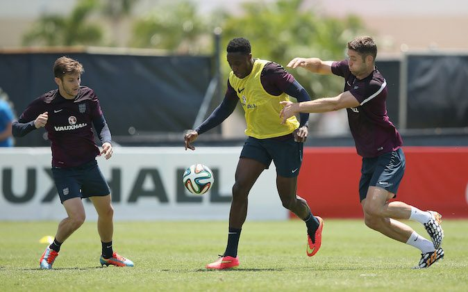 Adam Lallana, Danny Wellbeck and Gary Cahill in action during an England training session at the Barry University Campus on June 6, 2014 in Miami, Florida. England will play their final warm up match against Honduras on June 7th before travelling to Rio for the FIFA World Cup 2014 in Brazil. (Photo by Richard Heathcote/Getty Images)
