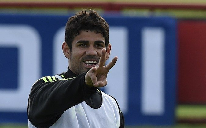 Spain's forward Diego Costa gestures during a training session on June 9, 2014, at CT do Caju in Curitiba, a few days prior to the start of the 2014 FIFA World Cup in Brazil. (LLUIS GENE/AFP/Getty Images)