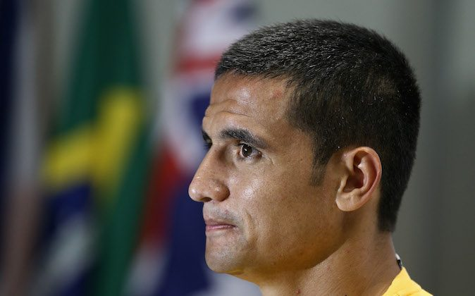 Tim Cahill of the Socceroos talks to media following an Australian Socceroos training session at Arena Unimed Sicoob on June 11, 2014 in Vitoria, Brazil. (Cameron Spencer/Getty Images)