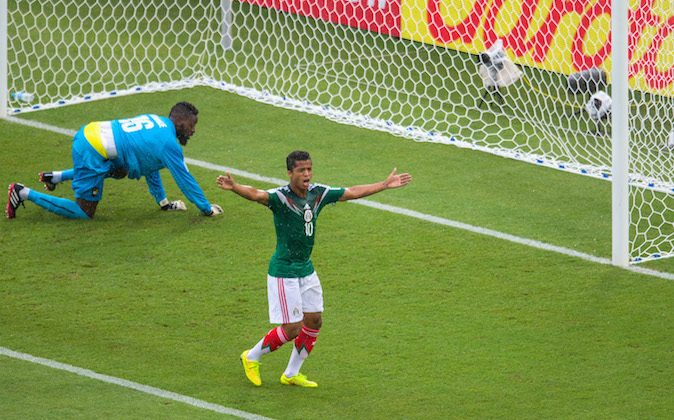 Giovani dos Santos of Mexico reacts as his goal is disallowed during the 2014 FIFA World Cup Brazil Group A match between Mexico and Cameroon at Estadio das Dunas on June 13, 2014 in Natal, Brazil. (Miguel Tovar/Getty Images)