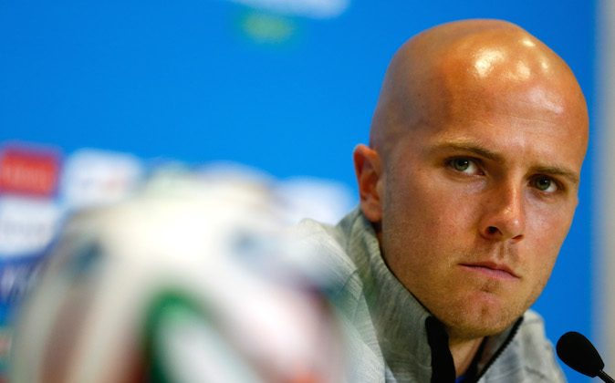 Michael Bradley of the United States speaks to the media at Estadio das Dunas on June 15, 2014 in Natal, Brazil. (Kevin C. Cox/Getty Images)