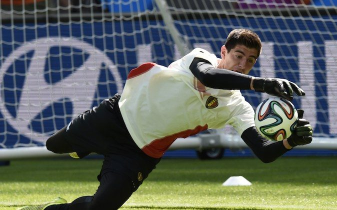 Belgium's goalkeeper Thibaut Courtois grabs a ball during a training session at the Mineirao Stadium in Belo Horizonte on June 16, 2014, on the eve of the 2014 FIFA World Cup group H football match Belgium vs Algeria. (PHILIPPE DESMAZES/AFP/Getty Images)
