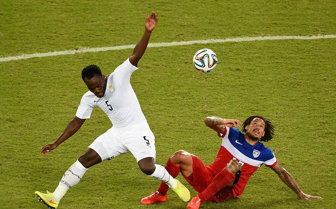 Michael Essien of Ghana is challenged by Jermaine Jones of the United States during the 2014 FIFA World Cup Brazil Group G match between Ghana and the United States at Estadio das Dunas on June 16, 2014 in Natal, Brazil. (Photo by Laurence Griffiths/Getty Images)