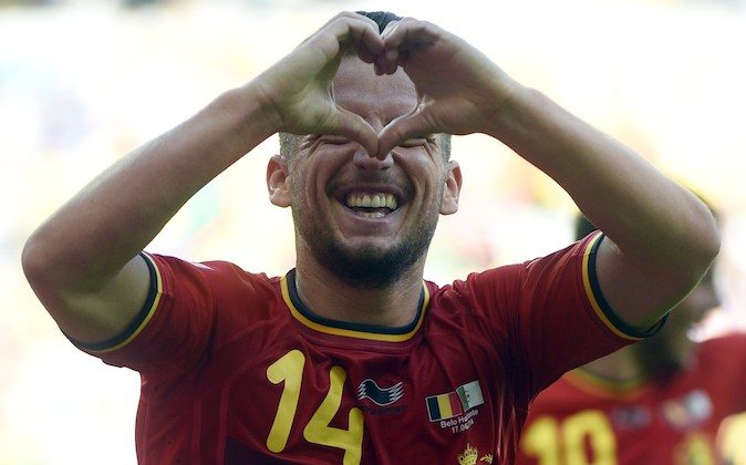 Belgium's forward Dries Mertens celebrates after scoring during a Group H football match between Belgium and Algeria at the Mineirao Stadium in Belo Horizonte during the 2014 FIFA World Cup on June 17, 2014. (MARTIN BUREAU/AFP/Getty Images)