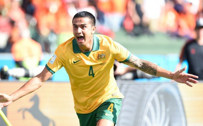 Australia's forward Tim Cahill celebrates after scoring during a Group B football match between Australia and the Netherlands at the Beira-Rio Stadium in Porto Alegre during the 2014 FIFA World Cup on June 18, 2014. (JUAN BARRETO/AFP/Getty Images)