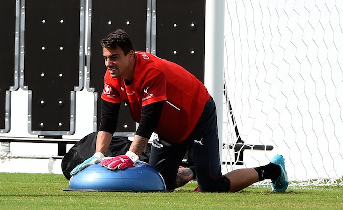 Switzerland's goalkeeper Diego Benaglio takes part in a training session in Santo Andre on June 18, 2014, ahead of their match against France in Salvador during the 2014 FIFA World Cup. (PATRIK STOLLARZ/AFP/Getty Images)