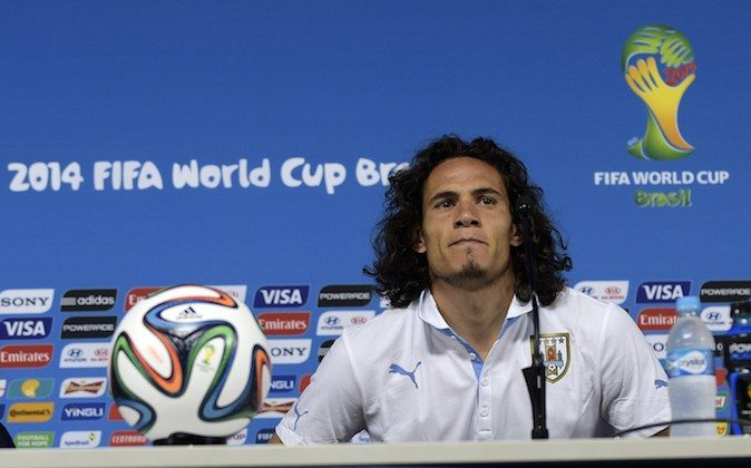 Uruguay's forward Edinson Cavani prepares to address a press conference at the Corinthians Arena in Sao Paulo on June 18, 2014, on the eve of a FIFA World Cup Group D match between Uruguay and England. (DANIEL GARCIA/AFP/Getty Images)