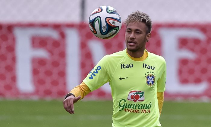 Neymar in action during a training session of the Brazilian national football team at the squad's Granja Comary training complex, on June 20, 2014 in Teresopolis, 90 km from downtown Rio de Janeiro, Brazil. (Photo by Buda Mendes/Getty Images)