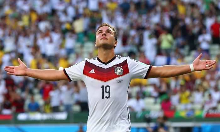 Mario Goetze of Germany celebrates scoring his team's first goal during the 2014 FIFA World Cup Brazil Group G match between Germany and Ghana at Castelao on June 21, 2014 in Fortaleza, Brazil. (Photo by Martin Rose/Getty Images)