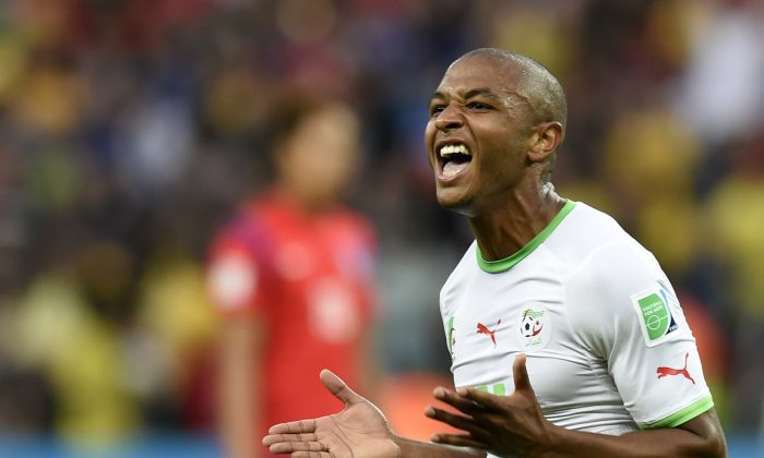 Algeria's midfielder Yacine Brahimi celebrates after scoring his team's fourth goal during the Group H football match between South Korea and Algeria at the Beira-Rio Stadium in Porto Alegre during the 2014 FIFA World Cup on June 22, 2014. (PHILIPPE DESMAZES/AFP/Getty Images)