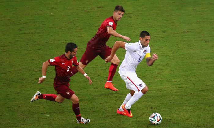 Clint Dempsey of the United States controls the ball against Joao Moutinho of Portugal during the 2014 FIFA World Cup Brazil Group G match between the United States and Portugal at Arena Amazonia on June 22, 2014 in Manaus, Brazil. (Photo by Elsa/Getty Images)