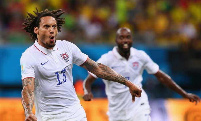 Jermaine Jones of the United States celebrates after scoring his team's first goal during the 2014 FIFA World Cup Brazil Group G match between the United States and Portugal at Arena Amazonia on June 22, 2014 in Manaus, Brazil. (Photo by Kevin C. Cox/Getty Images)