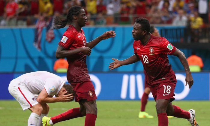 Silvestre Varela of Portugal celebrates scoring his team's second goal during the 2014 FIFA World Cup Brazil Group G match between the United States and Portugal at Arena Amazonia on June 22, 2014 in Manaus, Brazil. (Photo by Warren Little/Getty Images)