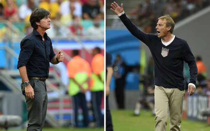 Germany's coach Joachim Loew (L) looking on during the Group G football match between Germany and Portugal at the Fonte Nova Arena in Salvador on June 16, 2014 and US German coach Juergen Klinsmann (R) gesturing during a Group G football match between USA and Portugal at the Amazonia Arena in Manaus during the 2014 FIFA World Cup on June 22, 2014. Germany will play against US in a Group G football match at the Pernambuco Arena in Recife during the 2014 FIFA World Cup on June 26, 2014. (ODD ANDERSEN/AFP/Getty Images)