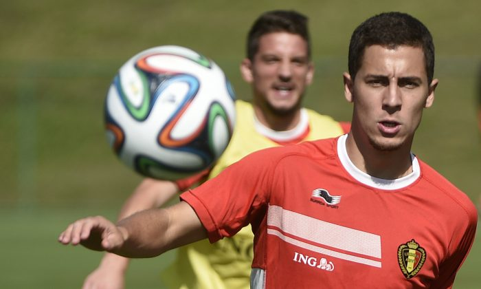 Belgium's midfielder Eden Hazard attends a training session in Mogi das Cruzes on June 24, 2014 during the 2014 FIFA World Cup. (MARTIN BUREAU/AFP/Getty Images)