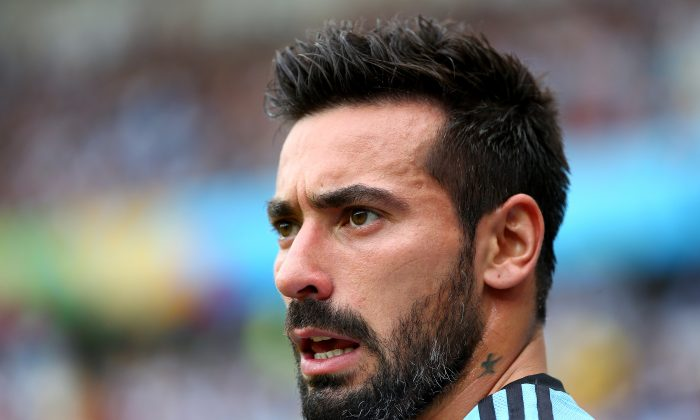 Ezequiel Lavezzi of Argentina looks on during the 2014 FIFA World Cup Brazil Group F match between Nigeria and Argentina at Estadio Beira-Rio on June 25, 2014 in Porto Alegre, Brazil. (Jeff Gross/Getty Images)