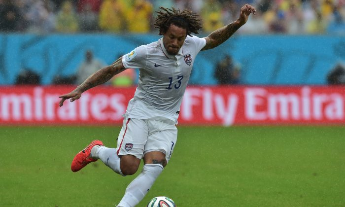 US midfielder Jermaine Jones plays the ball during a Group G football match between US and Germany at the Pernambuco Arena in Recife during the 2014 FIFA World Cup on June 26, 2014. (Getty Images)
