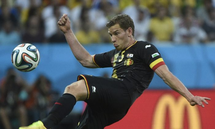 Belgium's defender Jan Vertonghen kicks the ball during a Group H football match between South Korea and Belgium at the Corinthians Arena in Sao Paulo during the 2014 FIFA World Cup on June 26, 2014. (MARTIN BUREAU/AFP/Getty Images)