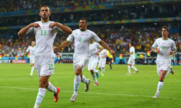 Islam Slimani of Algeria (L) celebrates scoring his team's first goal with teammates Essaid Belkalem (C) and Carl Medjani (R) during the 2014 FIFA World Cup Brazil Group H match between Algeria and Russia at Arena da Baixada on June 26, 2014 in Curitiba, Brazil. (Photo by Julian Finney/Getty Images)