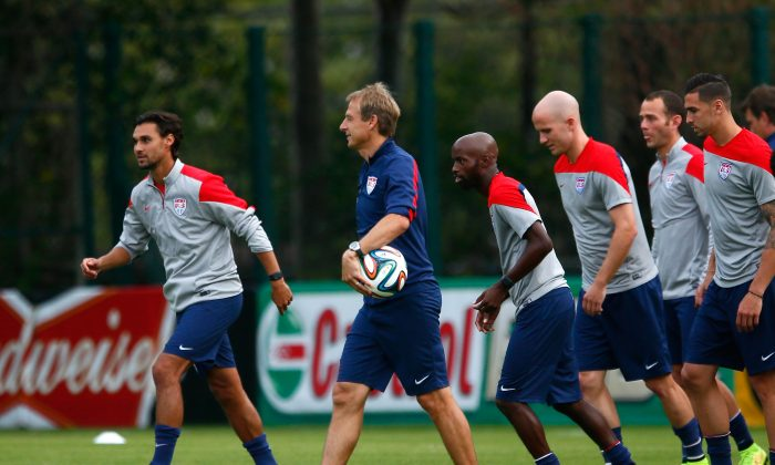 Head coach Jurgen Klinsmann of the United States watches over drills during training at Sao Paulo FC on June 28, 2014 in Sao Paulo, Brazil. (Kevin C. Cox/Getty Images)