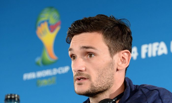 France's goalkeeper and captain Hugo Lloris addresses a press conference at Mane Garrincha National Stadium on June 29, 2014, on the eve of their 2014 FIFA World Cup Round of 16 football match against Nigeria. (EVARISTO SA/AFP/Getty Images)