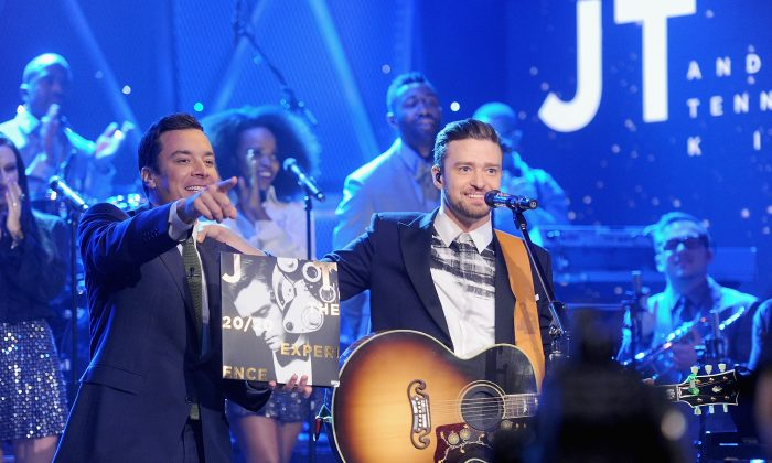 Host Jimmy Fallon and actor/musician Justin Timberlake on 'The Tonight Show Starring Jimmy Fallon' at Rockefeller Center on February 21, 2014 in New York City. (Jamie McCarthy/Getty Images for The Tonight Show Starring Jimmy Fallon)
