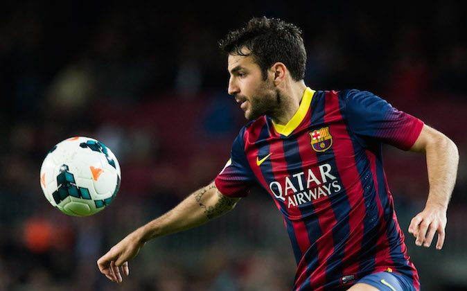 Cesc Fabregas of FC Barcelona controls the ball during the La Liga match between FC Barcelona and RC Celta de Vigo at Camp Nou on March 26, 2014 in Barcelona, Spain. (Photo by Alex Caparros/Getty Images)