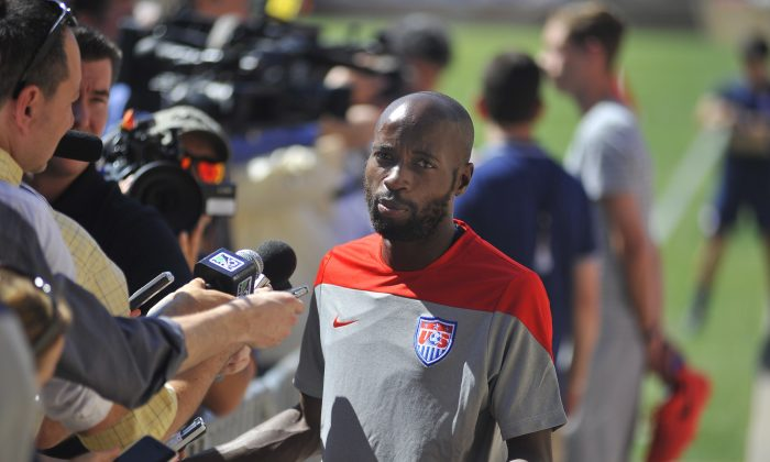 Damarcus Beasley of the US Men's National Team speaks to the media in Stanford, California on May 14, 2014. (AFP/Getty Images)