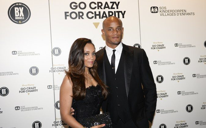Belgian footballer Vincent Kompany and his wife Carla Higgs arrive for the charity gala dinner SOS Villages d'enfants (SOS Children's Villages) in Brussels on May 21, 2014. (LAURIE DIEFFEMBACQ/AFP/Getty Images) DIEFFEMBACQ