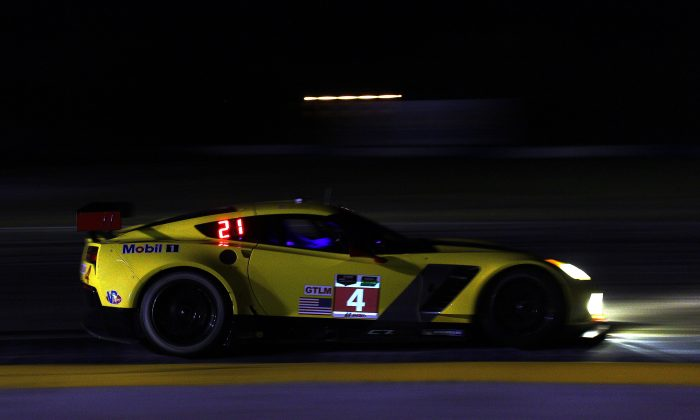 The Corvette Racing C7.R (here in action at Sebring 2014) battled hard against the #97 Aston through the early-morning hours at the Le Mans 24 race at Le Mans France, June  14–15, 2014. (Chris Jasurek/Epoch Times)