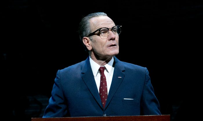 "This image released by Jeffrey Richards Associates shows Bryan Cranston portraying President Lyndon B. Johnson during a performance of ""All the Way."" The production said Thursday, June 5, 2014, it had earned back its $3.9 million costs, just days after just celebrating its 100th performance. Cranston plays Johnson during his first year in office following the assassination of John F. Kennedy and explores both his fight for re-election and the passage of the Civil Rights Act of 1964. (AP Photo/Jeffrey Richards Associates, Evgenia Eliseeva)"