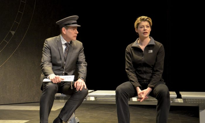 "Quentin (Bill Champion) is the officer in charge of stopping a terrorist, and Ez (Elizabeth Boag) is an army officer whose career has seen better days in Alan Ayckbourn's ""Arrivals and Departures."" (Andrew Higgens)"