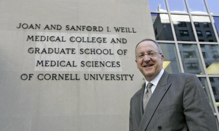 Cornell University's president, Dr. David Skorton poses for a portrait in front of the University's Medical College in Manhattan, Wednesday, Oct. 25, 2006. (AP Photo/Mary Altaffer)
