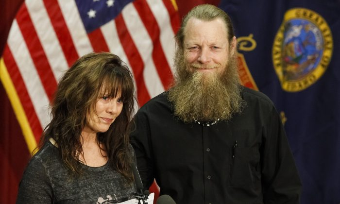 Jani and Bob Bergdahl speak to the media during at Gowen Field in Boise, Idaho, on June 1, 2014. Their son, Sgt. Bowe Bergdahl is back in American hands, freed for five Guantanamo terrorism detainees. (AP Photo/Otto Kitsinger)