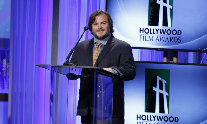 Jack Black speaks onstage at the 17th Annual Hollywood Film Awards Gala at the Beverly Hilton Hotel on Monday, Oct. 21, 2013, in Beverly Hills, Calif. (Photo by Todd Williamson/Invision/AP)
