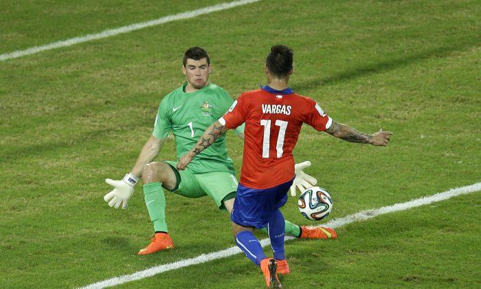 Chile's Eduardo Vargas in the first World Cup match against Australia, scored against Spain on June 18. (AP Photo/Michael Sohn)