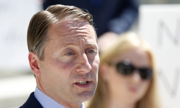 Republican candidate for governor Rob Astorino during a news conference in Albany, N.Y., Monday, June 16, 2014. (AP Photo/Mike Groll)