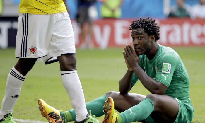 Wilfried Bony, in a previous World Cup match against Colombia, scored against Greece on June 24, 2014. (AP Photo/Sergei Grits)