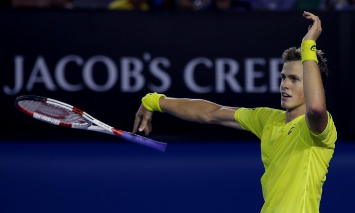 Vasek Pospisil of Canada in a file photo from the Australian Open. He's playing in the Topshelf Open quarterfinals on June 19, 2014. (AP Photo/Aaron Favila)