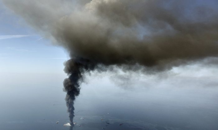 The Deepwater Horizon oil rig burns in the Gulf of Mexico on April 21, 2010. (AP Photo/Gerald Herbert, File)