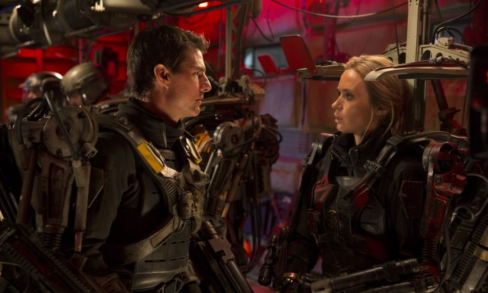 Rita and Bill (Emily Blunt and Tom Cruise) get to know each other by increments, as they hunt down an alien race. (Warner Bros. Pictures)